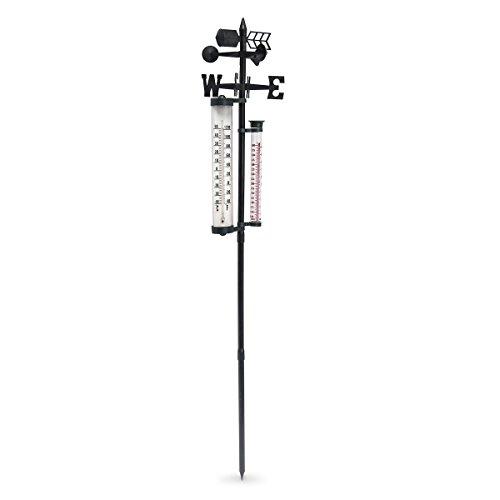 Relaxdays Wetterstation analog, Thermometer, Regenmesser, Windmesser, Garten & Balkon, HxBxT: 145 x 24 x 24 cm, schwarz