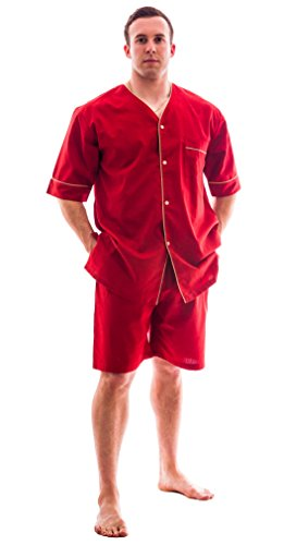 Up2date Fashion Men's Woven S/S Pajama Set with ShortsLargeRed