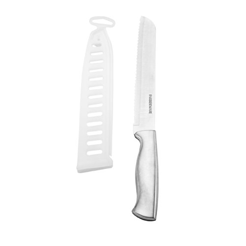 Farberware Stainless Steel Bread Knife with Clear Sheath, 8-Inch