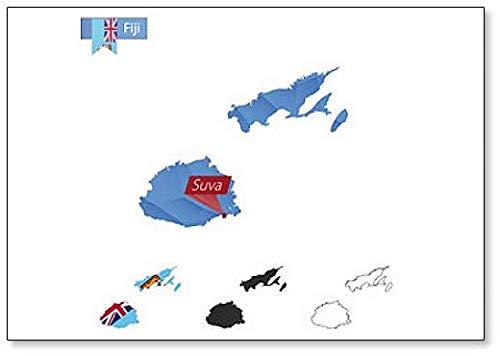 Kühlschrankmagnet, Motiv Fidschi-Map mit Kapital-Suva