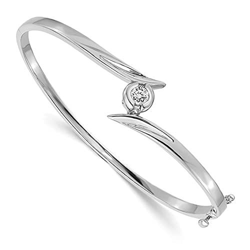 Jewelry-14k White Gold A Hinged Bangle
