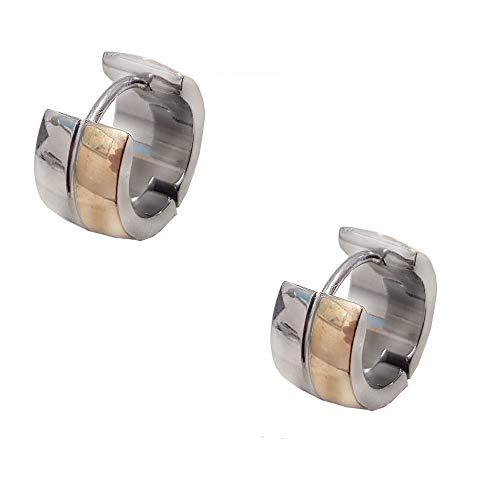Styleziel 2357 Creool-oorbel voor dames en heren, roestvrij staal, breed, tweekleurig zilver