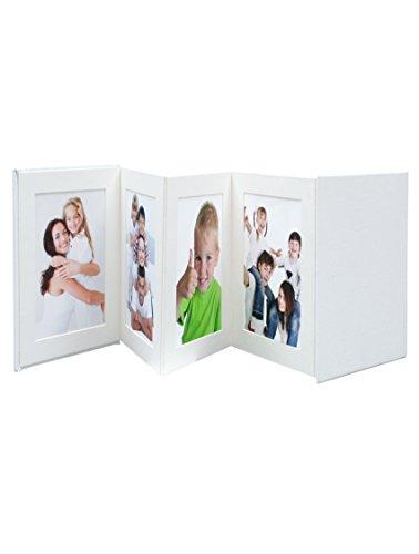 Deknudt Leporello Leder Weiß Fotoalbum - Fotoalben (Weiß, Leder, 8 Blätter, 10 x 15 cm, 4 Stück(e), 145 mm)