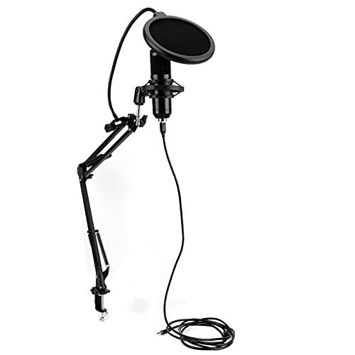 Jopwkuin Micrófono para PC, Soporte De Brazo, Filtro Pop, Kit De Micrófono USB Ajustable para Charlas En Línea De Windows(Micrófono de Cabeza Redonda)