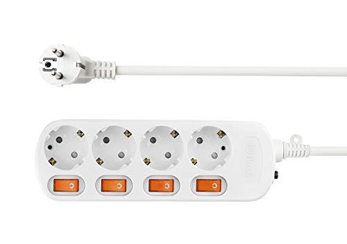 NEUVIELE 4 Fach Mehrfachsteckdose überspannungsschutz einzeln schaltbare Steckdosenleiste 1.5M Kable Für Wohnzimmer