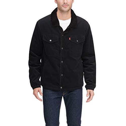 Levi's Men's Corduroy Sherpa Lined Trucker Jacket, black, Large