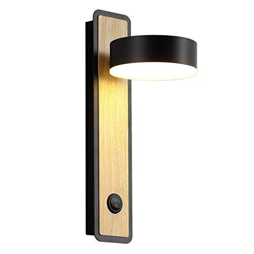 xiaokeai Lámpara de Pared Lámpara de Pared LED de Noche Personalidad Creativa Lámpara de Pared Interior Lámpara de Lectura Lámpara empotrada con Pantalla de Interruptor Puede girarse Luz de Pared