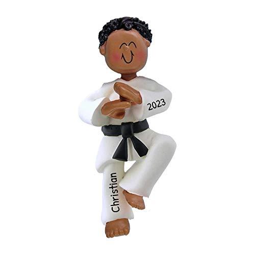 Personalized Karate Boy Christmas Tree Ornament 2021 - African-American Man Athlete Belt in Pose School Taekwondo Judo Teacher Hobby Children Grand-Son - Free Customization (Black Hair Male)