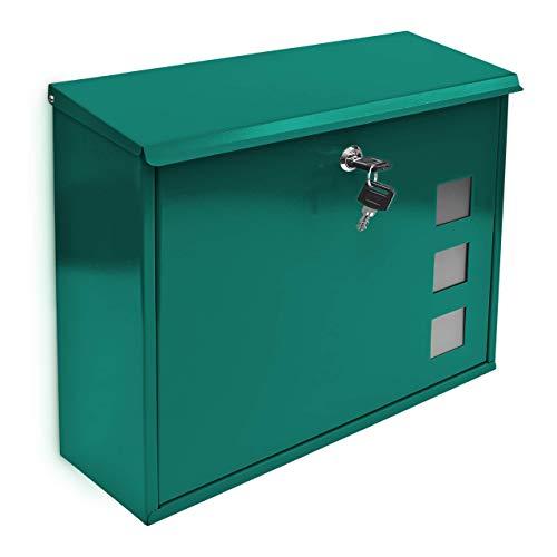 Relaxdays Briefkasten mit Dekor-Fenster Metall Grün, 10017419_3