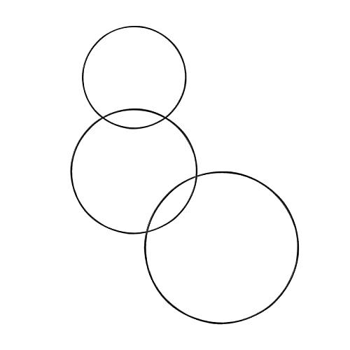 3 Stück Metallring Floral Hoops Ringe Kranz Makramee Ringe für Traumfänger Ring, Makramee Ring, Floristik Neues Jahr Party Dekoration (20 cm /25 cm /30 cmΦ, Schwarz)