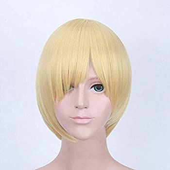 TANKKWEQ Yuri!!! On Ice Wig For Men Boys Katsuki Yuuri Synthetic Hair Black Short Slicked Wigs + Wig Cap One  Color   Yuri Plisetsky 773 Size   One Size