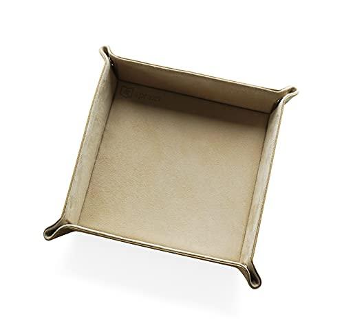 Sprezzi Valet Tray Leder Aufbewahrung Deko Tablett Box - für Geldbörsen, Uhren, Schmuck, Schlüssel Geschenk für Männer (Beige)