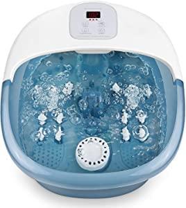 Baño de pies/bañera con vibración de burbujas de calor, pedicura de masaje con función 3 en 1, masajeador manual, control de temperatura digital, 14 rodillos de masaje