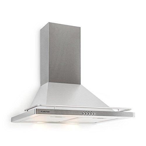 Klarstein Timea - afzuigkap, afzuigkap, muurafzuigkap, afvoerlucht/recirculatielucht, 3 niveaus, 416 m³ / h max.Afvoerluchtprestaties, stil, 60 cm breed, 2 x aluminium vetfilters, zilver