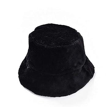 Winter Furry Bucket Hat NRUTUP Fluffy Hat with Faux Fur Teddy Style Winter Hat Warm Windproof Hat for Women Fur Hats  Black One Size