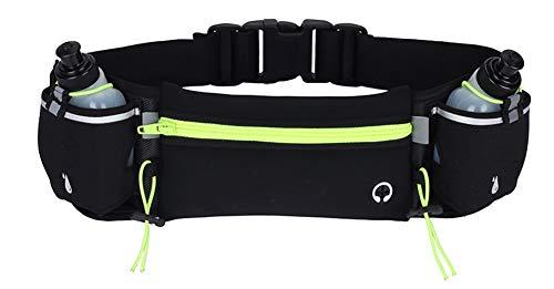 Lisaion Cinturón ajustable para correr con botellas de agua (2 x 175 ml) | Bolsillos para teléfonos inteligentes, ideal para entrenamiento de maratón y fitness, senderismo y ejercicio (verde)