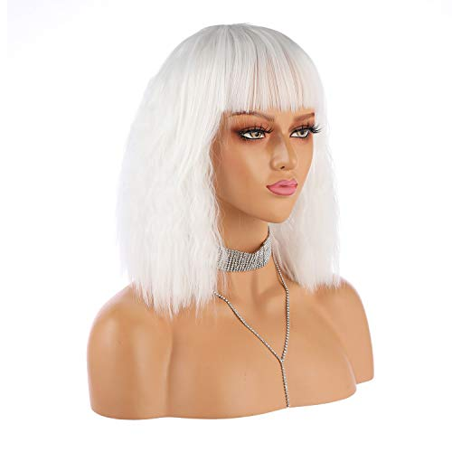 eNilecor Short Fluffy Bob Kinky Straight Hair Wigs with Bangs Synthetic Heat Resistant Women Fashion Hairstyles Custom Cosplay Party Wigs + Wig Cap (White)