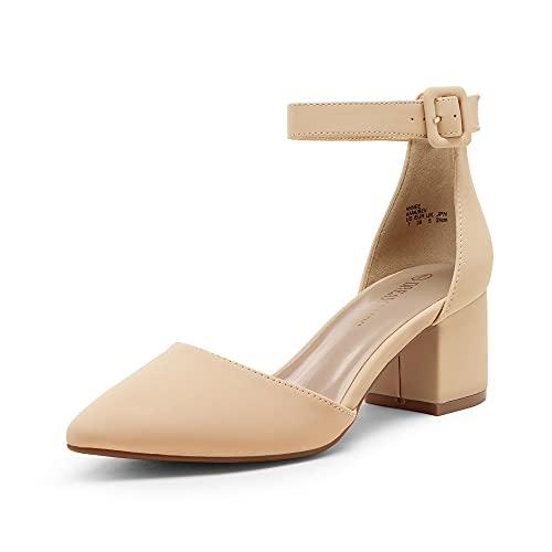 DREAM PAIRS Women's Annee Nude Nubuck Low Heel Pump Shoes - 8 M US