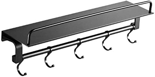 HXF Baño Cosméticos estantes de baño Estante de Pared WC vanidad de Almacenamiento Gratuito Estante de la Pared de perforación Negro Durable (Size : 50cm)
