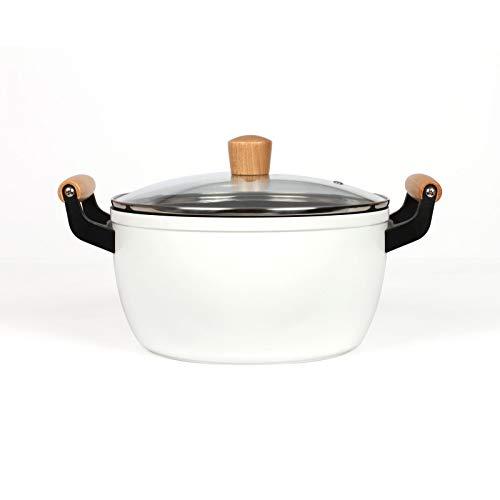 Olla de inducción de 24 cm – Cacerola de 5 litros con tapa – Cacerola blanca con asas de madera apta para inducción – Olla para verduras con tapa de cristal en color blanco