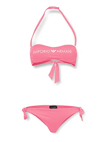EMPORIO ARMANI swimwear BKN REM. Cups Band & Bows Brazilian Logo Lover Bikini-Set, Rosa (Fuxia 00073), 3C (Taglia Produttore: Medium) Donna