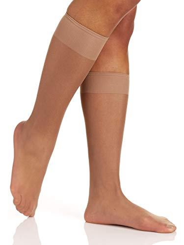 Berkshire Women's Silky Sheer Knee High Sandalfoot Pantyhose, Natural Tan, 8 1/2-11