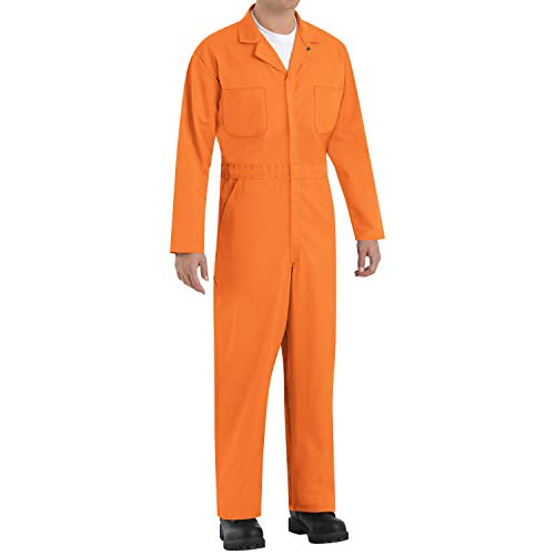Red Kap Men's Twill Action Back Coverall, Orange, 38