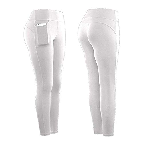Leggings Mujer Fitness 2020 SHOBDW Color Sólido Stretch Legging Yoga Mujer Workout Running Gym Bolsillos Leggings Deporte Mujer Activos Pantalones Chandal Mujer Baratos(Blanco,M)