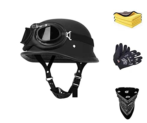Cascos de moto con gafas para mujer y hombre, casco de scooter para Cruiser ciclomotor, scooter aprobado por DOT/ECE (L)