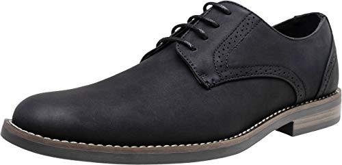 JOUSEN Mens Dress Shoes Suede Plain Toe Business Casual Oxford Shoes Black Dress Shoes for Men (AMY624 Black 8)