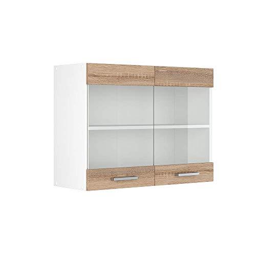 Vicco Küchenschrank R-Line Hängeschrank Unterschrank Küchenzeile Küchenunterschrank Arbeitsplatte, Möbel verfügbar in anthrazit und weiß (Sonoma ohne Arbeitsplatte, Hängeglasschrank 80 cm)