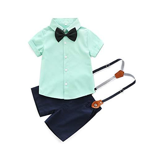 BOBORA 2PCs Bébé Garçons Ensemble de Costume T-Shirt Nœud Papillon à Manches Courtes + Salopette Shorts Pantalons pour 0-3Ans