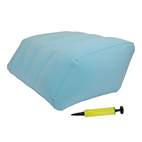 Brynnl Almohada de elevación de Pierna Azul, Almohada de Descanso de piernas Inflable con Bomba de Aire Manual de Doble válvula portátil Almohada de elevación de Pierna promueve la circulación