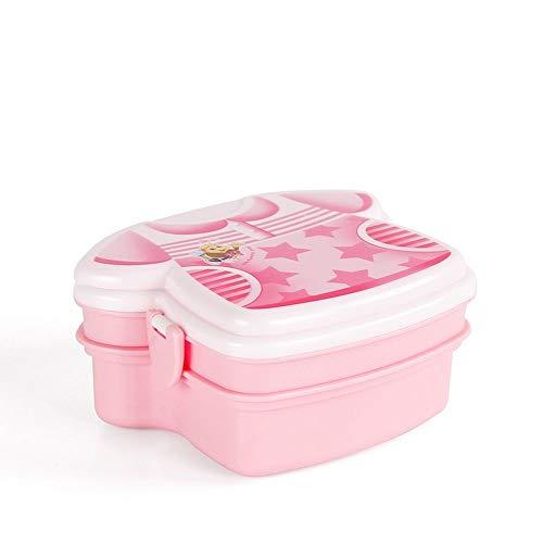 OIPIYUT Lunch Box Double Layer with Fork en Plastique Isolation Enfants Portable Déjeuner Dîner Vaisselle S