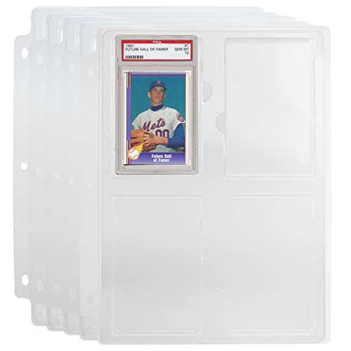 Simply Genius (5 Pack Collectible Cards Storage Tray Holder Fits Sports Cards in Slabs Graded by PSA and Trading Cards for 3 Ring Trading Card Binder Pages