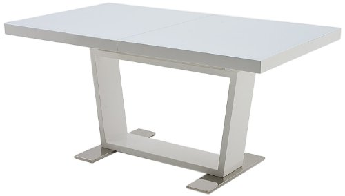 Robas Lund Esszimmertisch Tisch Glastisch ausziehbar Gestell Weiß Hochglanz, Manhattan BxHxT 160-240 x 76 x 90 cm