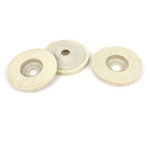 Aexit 84 Grob- & Feinpoliturzubehör mm x 15 mm x 10 mm aus Wolle Felt Polishing Pad Disc, Weiß, Filzscheiben 3 Stück
