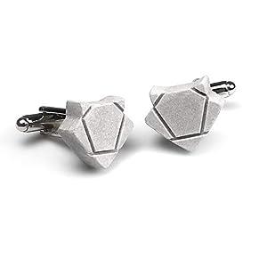 Fuchs-Manschettenknöpfe aus Beton [fox-free] | abstrahierte cuff-links in fuchsform | Paar in schwarzem Geschenk-Etui