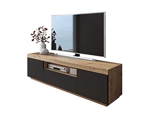 LUK Furniture Yoshi TV-Schrank Eiche Wotan Schwarze Fronten Fernsehschrank mit Schubladen und Push to Open System TV- Bank Sideboard Lowboard Wohnwand