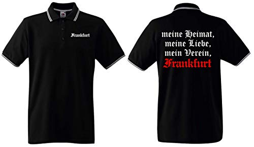 World of Shirt Herren Polo-Retro Shirt Frankfurt Meine Heimat Mein Verein