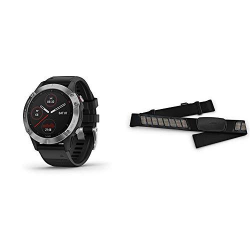 GARMIN FENIX6 프리미엄 멀티스포츠 GPS 시계 열 및 고도 조정 V02MAX 맥박 산소 농도 센서와 교육을 로드점 은 블랙으로 밴드&010-12883-00HRM-듀얼 심장 박동 모니터링
