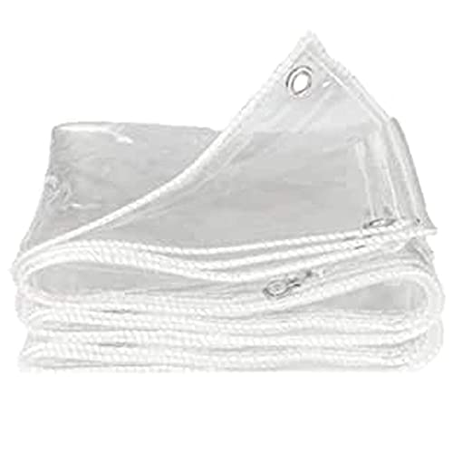 SJQ Lona Transparente Resistente al Agua, Resistente a la Intemperie, Vidrio de PVC Transparente Reforzado, Resistente al Agua, Resistente al Viento, espesante, Tela de plástico Resistente a la