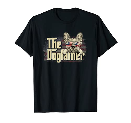 The Dogfather - Funny Dog Owner, French Bulldog USA Flag T-Shirt