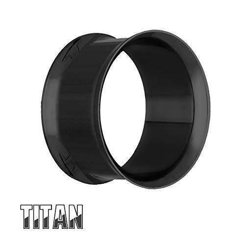 Treuheld® | 5mm Ohr Flesh Tunnel | Titan G23 | Schwarz | Dünn | Double Flared Ohrtunnel | Dünner Rand | hautfreundlich & antiallergen