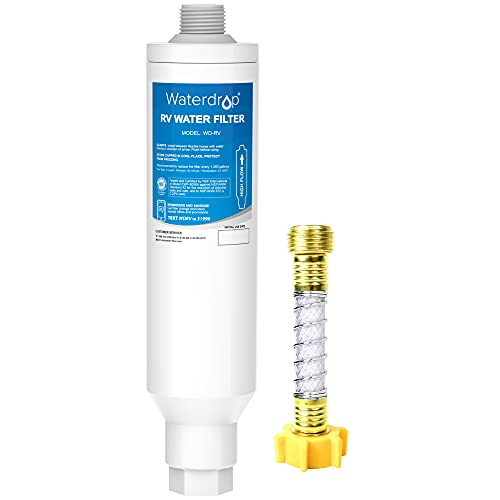 Waterdrop RV Inline Water Filter, NSF Certified, Reduces Chlorine, Bad Taste, Odor, Rust, Corrosion, Sediments and Turbidity, Dedicated for RVs, 1 Pack Water Filter with Hose Protector