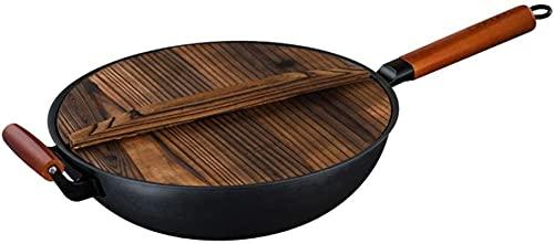 TINGFENG Wok Pan para freír pan antideslizante Tipo de martillo Tipo de acero al carbono con asa auxiliar de acero