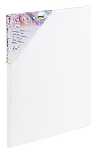 Idena 60004 Keilrahmen mit Leinwand aus 100% Baumwolle, 380 g/m², für Ölund Acrylfarben, 30 x 40 cm, weiß