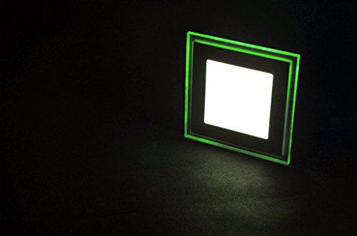 SpiceLED 3d LED Panel 10W bianco caldo con effetto luce in verde–Lampada da soffitto a LED quadrato sottile Slim UltraSlim Faretto da incasso