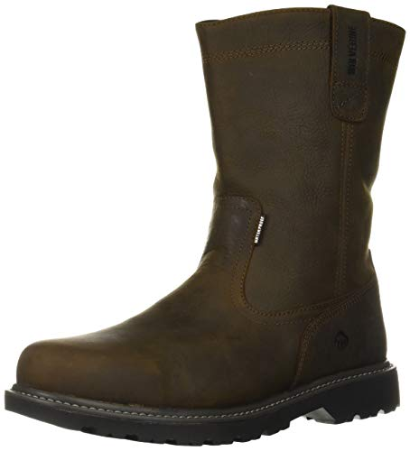 WOLVERINE Men's Floorhand Waterproof 10' Soft Toe Work Boot, Dark Brown, 9.5 W US