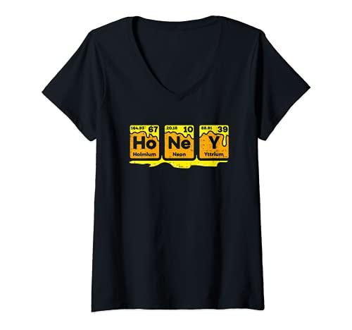Mujer Tabla periódica de miel Apicultor Abeja Colmenas Idea de Camiseta Cuello V